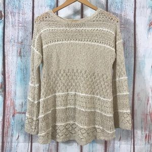 💎 Knox Rose Lace Knit Striped Sweater Tan/White M